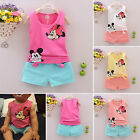 Baby Kids Girls Boys Cartoon Mickey Minnie Vest Tops + Pants 2Pcs/Sets Outfits