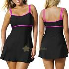 PLUS SIZE Women Sexy One-piece Push-up Padded Swim Dress Swimsuit Bikini Tankini