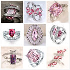 Women 925 Silver Pink Sapphire Gemstone Ring Wedding Engagement Party Size6-10