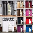 LUXURY FLOCK  RING TOP EYELET & PENCIL PLEAT CURTAINS  FULLY LINED INC TIE BACKS