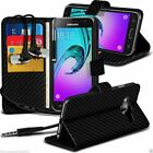 Black Carbon Fibre Leather Book Wallet Phone Custom Case Cover+In Ear Headphones