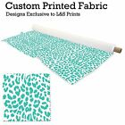 TEAL & WHITE LEOPARD PRINT DESIGN POLYESTER FABRIC DIGITAL PRINT MATERIAL