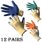 12 PAIRS 10G LATEX COATED GREEN RUBBER WORK GLOVES BUILDER GARDENING SAFETY GRIP