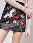 Women BLACK Faux leather FLORAL Bird crane EMBROIDERED MINI SKIRT. BLOGGERS