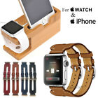 Leather Double Buckle Cuff Band Strap Stand for Apple Watch iPhone 7 Plus/6s/SE