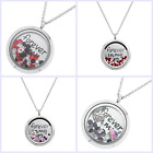 Forever in My Heart Locket Crystals Floating Charms Chain Necklace Pendant 30mm
