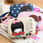 2017 Lovely Japanese Girl Print Canvas Phone Bag Double Zipper Purse Coin Bag GD