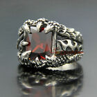 316L Stainless Steel Vintage Silver Dragon Claw Ruby CZ Men's Biker Ring