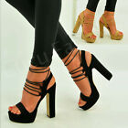 Ladies New High Block Heel Platform Elastic Lace Up Womens Sandals Shoes Size Uk
