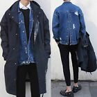 Men Hit Distressed Ripped Destroyed Frayed Button Back Closure Denim Jean Jacket