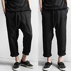 Men Casual Black Drop Crotch Low Rise Harem Elastic Stretch Waist Pants Trousers