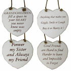 Wooden Slogan Heart Plaque with Rope Handle - Sister Friends Grandchildren