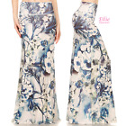 Floral Navy/Blue Sublimation high waist fold over maxi long skirt (S/M/L/XL)