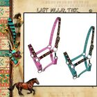 HORSEMAN'S HEADCOLLAR FULLY ADJUSTABLE WITH TRIBAL PATTERN ~ TEAL OR PINK