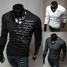 New Men's Fashion V-neck Brace Embroidered Shirts Man Thick Long-Sleeved T-shirt