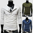 Men's Casual Double-Breasted Solid Shirts Man Slim Fit Long Sleeve T-shirts Tops