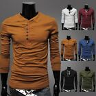 Fashion Pure Color Men's Long Sleeve Shirt Single-Breasted Slim Fit T-shirts Man
