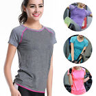 Women Short Sleeve Fitness Gym Yoga Running T Shirt Quick-Dry Active Sports Tops