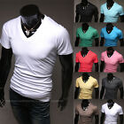 Fashion Men's Casual Slim Fit V-Neck Short Sleeve T-shirts Tops For Man Shirts
