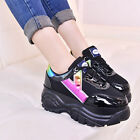 Hot Women Lace Up Sneakers Wedge Heel Platform Trainer Athletic Shoes Casual New