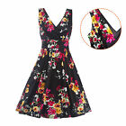 Fashion Women Sleeveless Floral Printed V-Neck Backless Casual Cotton Knee Dress