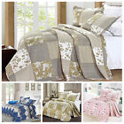 Luxury Floral Vintage Quilted PATCHWORK Bedspread Throws With 2 Pilllow Cases