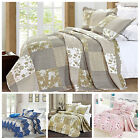 Bedspread 3 Piece Printed Patchwork Comforter Bed Throws Bed Quilt All UK Sizes