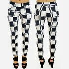 New Women Ladies Checked Print Pocket Trousers Size 6-14