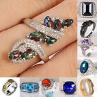 Women Fashion Jewelry 925 Silver Gemstone Wedding Engagement Ring Size 6-13
