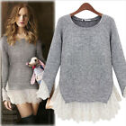 Fashion Women 2017 Spring Lace Stitching Long Sleeve Pullover Sweater Shirt Tops