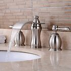 Brushed Nickel Widespread Basin Faucet Dual Handles Tub Sink Mixer Taps