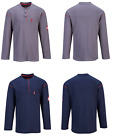 Mens FR Flame Resistant Shirt Crew Neck Long Sleeve Button Gray Navy, NEW