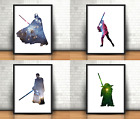 Star Wars Inspired Art Prints Set Of 4 Darth Vader Obi Wan Yoda Luke Skywalker £21.99 GBP