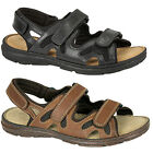 Mens New Black Brown Leather Deluxe Padded Super Comfort Sandals