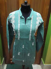 "S 39"" L 42"" ETHNIC 100% COTTON TUNIC CHIKAN EMBROIDERY KURTA KURTI HANDMADE TOP"