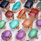 FREE 5-50pcs Wholesale Lots Natural Gemstone stone Gold P Fashion Rings