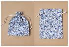 2 Linen Blue Floral Print Drawstring Pouch Gift Bags * 3 size choices