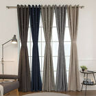"Stars Cutting Out Faux Linen Blackout Curtains Bedroom Grommet 102""W X 92""H Pair"