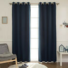 "Navy Solid Blackout Curtains Eyelet Grommet Nursery Curtains 102""W X 90""H Pair"