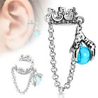 Crown with Chain and Dragon Ball Dangle Non-Piercing Ear Cuff (566)