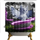 Angel Cats Pattern Polyester Fabric Waterproof Shower Curtain Liner & 12hooks