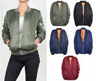 NEW WOMENS CLASSIC BOMBER MA1 FLIGHT JACKET VINTAGE ZIP UP LADIES SIZES UK8-20