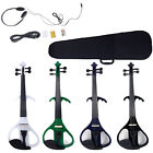 New 4/4 Electric Silent Violin + Case + Rosin + Head Set + Bow+ Battery 4 Colors