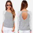 UK Womens Backless Long Sleeve Lace Tops Shirt Blouse Ladies Summer T-shirt