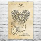 Harley Davidson Motor Cycle Engine Poster Patent Print Gift Biker Gift Wall Art $10.95 USD