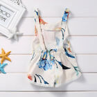 Cotton Newborn Kids Baby Girl Sleveless Lace Romper Lily printing Jumpsuit Cloth