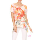 Women Floral Orange Watercolor Dipped Hem Short sleeve T-shirt Top (S/M/L/XL)