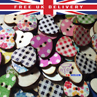15mm Shabby Chic Printed Wood Heart Buttons 2 Holes DIY Sewing Art Scrapbooking