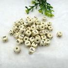 100/200/500Pcs 10mm Alphabet Wooden Beads Cube Mixed Letters Beads Jewelry Craft