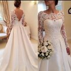 UK Plus Size White/ivory Long Sleeve Lace A Line Satin Wedding Dresses Size 6-22